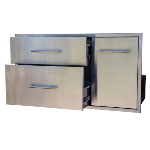 BBQ Island Double Drawer Slide Out Trash Combo 39×22 02