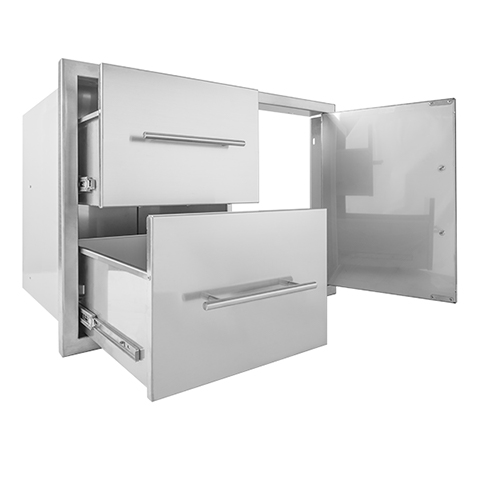 BBQ island 31×22 double drawer door combo 02