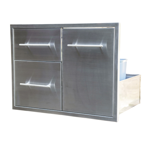BBQ Island Double Drawer Slide Out Trash Combo 31×22 01