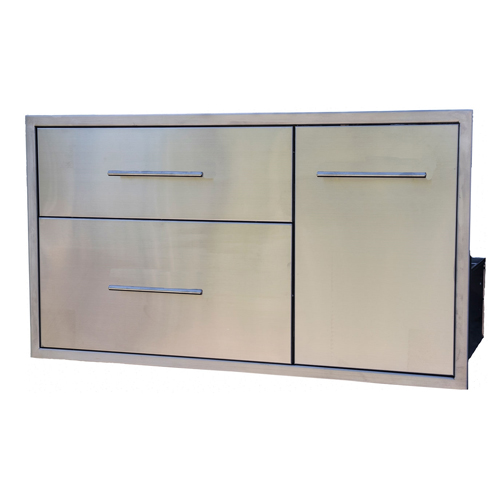 BBQ Island Double Drawer Slide Out Trash Combo 39×22 01