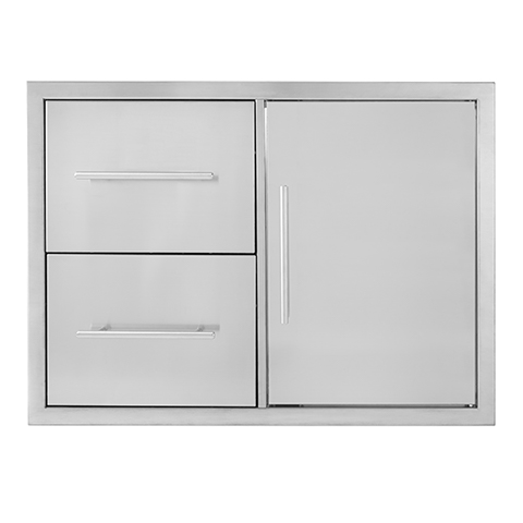 BBQ island 31×22 double drawer door combo 01